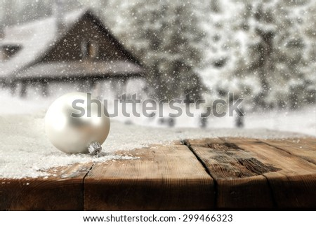 white ball and wooden desk top of retro chic  - stock photo