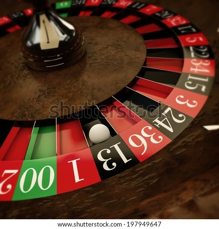 white ball on roulette wheel - stock photo