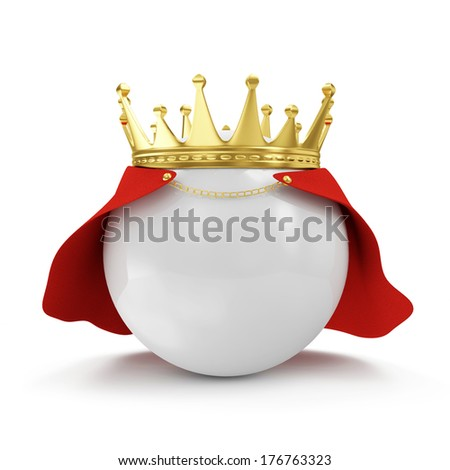 White Ball with Golden Crown and Raincoat isolated on white background  - stock photo