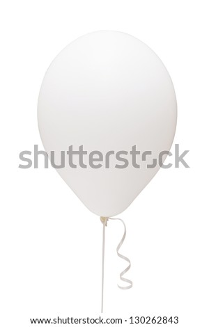 White balloon matt. Romantic love emotions. Girls party decoration classic. Studio shot. Isolated path and on white background - stock photo