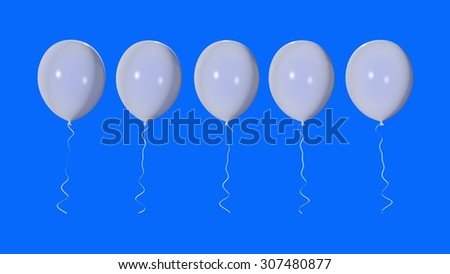White balloons on a blue background - stock photo
