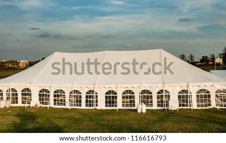 White banquet wedding tent or party tent - stock photo