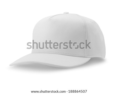 White baseball cap isolated on white background - stock photo