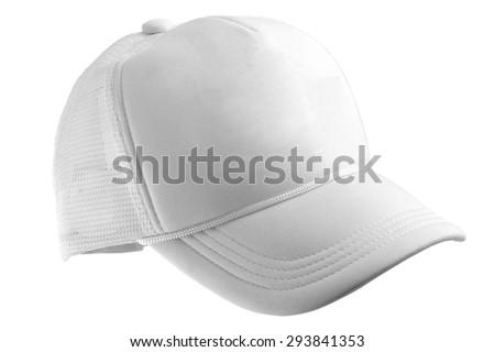 White Baseball Hat Cap Isolated on White Background  - stock photo