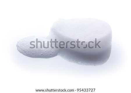 White Bath Sponge with Soap Foam Isolated on White Background - stock photo