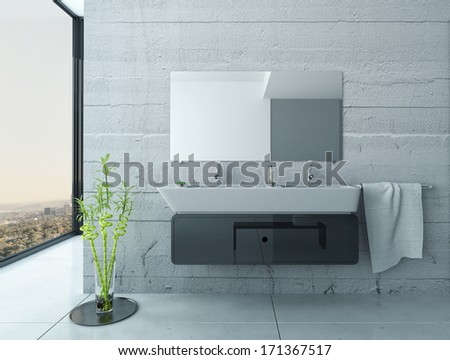 White bathroom interior with concrete walls and tiled floor - stock photo