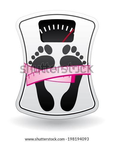 White bathroom scale with pink tape measure. Diet concept illustration. - stock photo