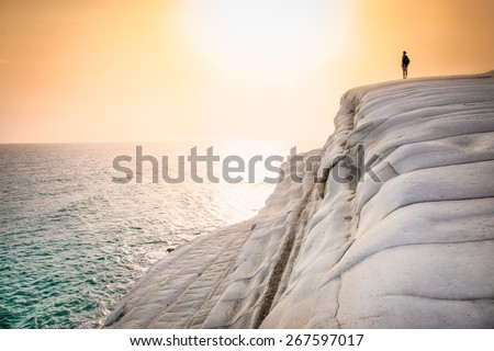 White beach. Scala dei Turchi in sunset on Sicily, Italy. - stock photo