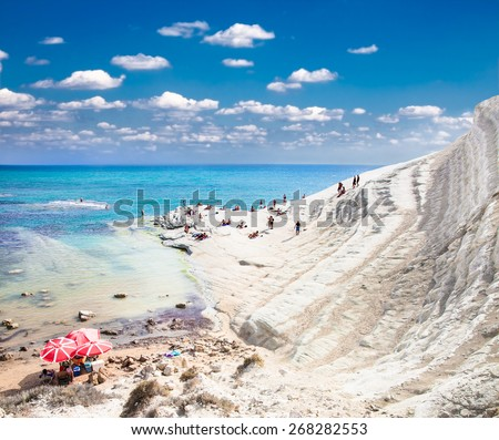 White beach. Scala dei Turchi on Sicily, Italy. - stock photo