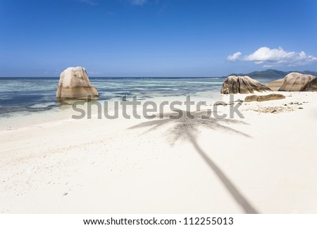 White beach with the shadow of a coconut palm, La Digue, Seychelles - stock photo