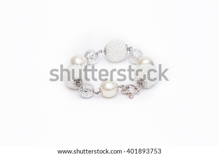 White beaded bracelet isolated - stock photo