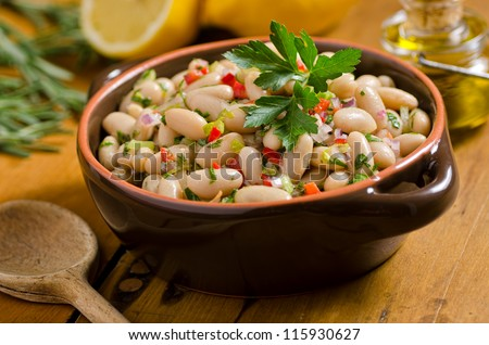 White bean cannellini salad. - stock photo