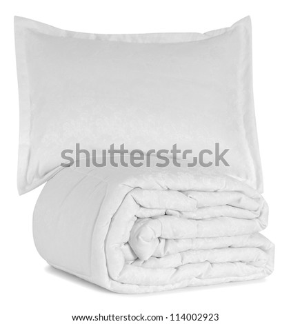 White bed items. - stock photo