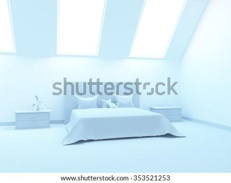 White bedroom. 3d illustration - stock photo