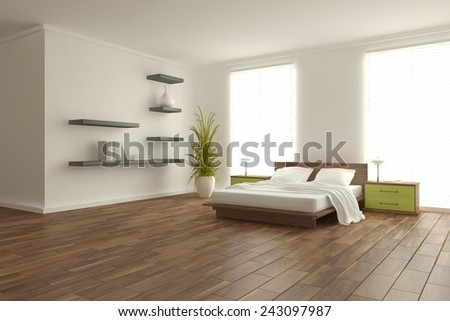 white bedroom-3D rendering - stock photo