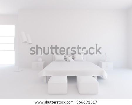 white bedroom interior. 3d illustration - stock photo