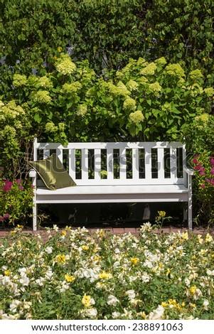 white bench in the lush garden - stock photo