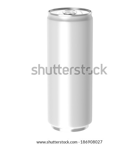 White beverage drink can, Isolated on white background, 3d Rendered. - stock photo