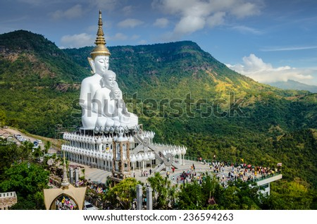 White big Buddha on the mountain, Wat Pha Sorn Kaew - stock photo