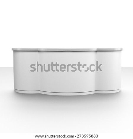 white big round desk or counter from front view. render - stock photo