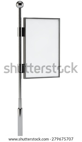 white billboard for advertizing on a column - stock photo