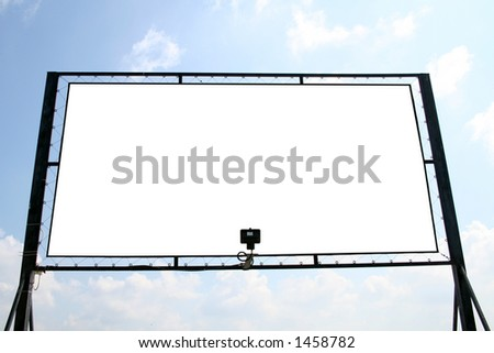 White billboard with isolated interior copyscpace for your ad - stock photo