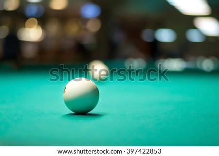 white billiard ball in a table - stock photo