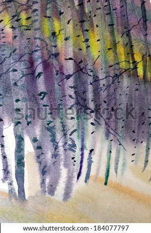 white birch winter painted watercolor - stock photo