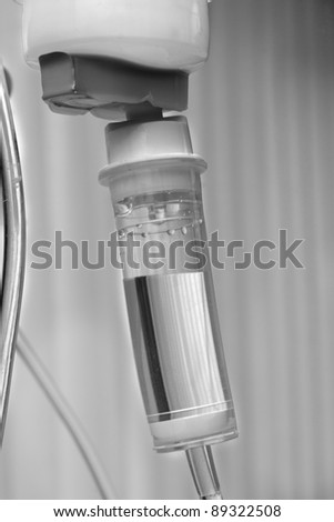 White black foto maded about drip at hospital - stock photo
