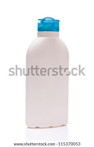 white blank bottle wiht blue cap, isolated on white background - stock photo