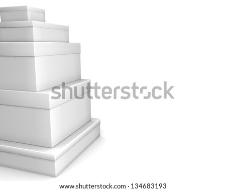 white blank boxes isolated over white background - stock photo