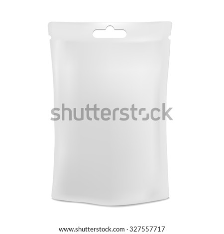 White blank foil food or drink bag packaging with hang slot blister. Plastic pack template ready for your design. - stock photo