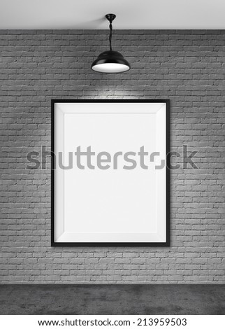 White blank frame on brick wall background - stock photo