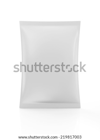 White Blank Package for Food isolated on white background - stock photo