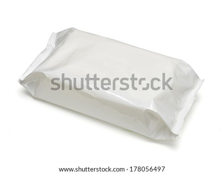 White blank package on white background including clipping path - stock photo