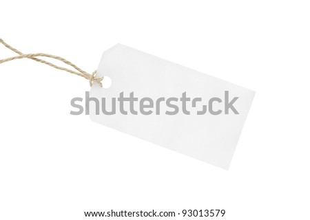 White blank  tag - stock photo