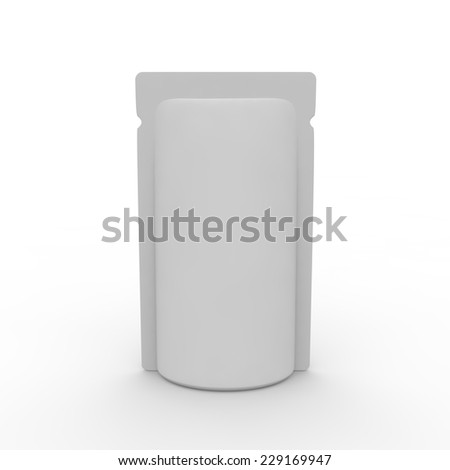 White blank tear-off package for liquids, food and other products - stock photo