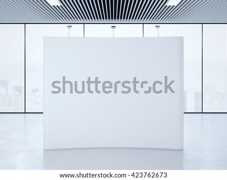 White blank trade show booth in bright interior. 3d rendering - stock photo