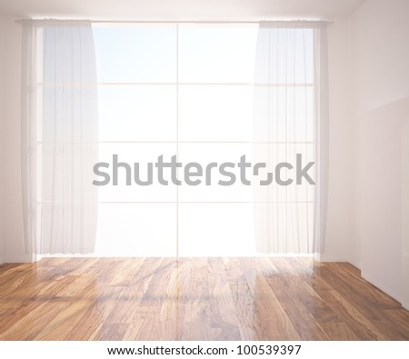 white blinds in the empty room - stock photo