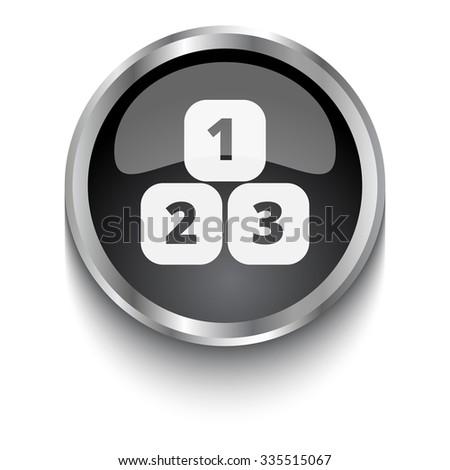 White 123 Blocks symbol on black web button - stock photo