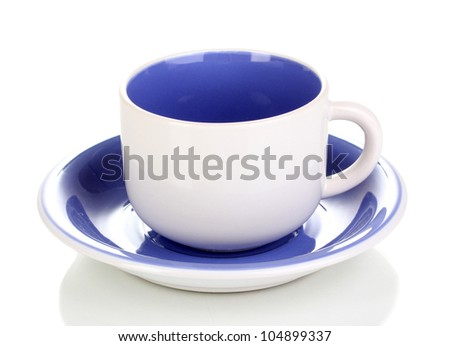 White-blue cup and saucer isolated on white - stock photo