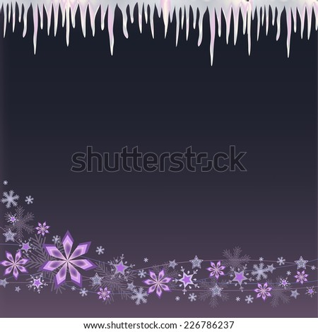 white blue icicle and snowflakes on pink purple background - stock photo