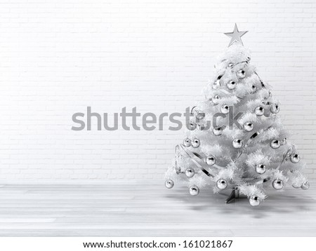 White blueish Christmast tree background - stock photo
