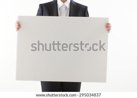 White board, hand - stock photo