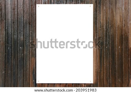 White board on dark wood background - stock photo