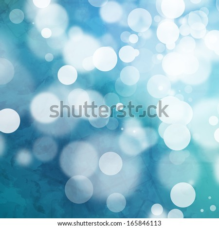 White bokeh on grungy blue watercolor background - stock photo