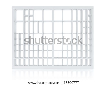 White Book Shelf Isolated on White Background - stock photo