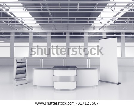 white booth or kiosk with  display. 3D rendering - stock photo