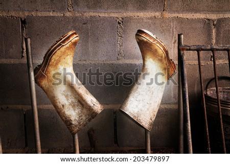 white boots - stock photo