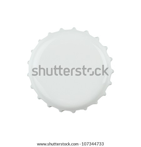 White bottle cap isolated on white background with clipping path - stock photo